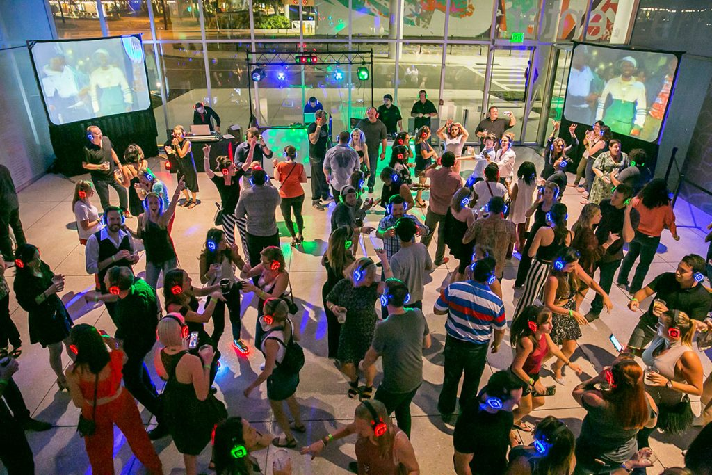 Guests dancing in the Tampa Museum of Art for the Silent Disco